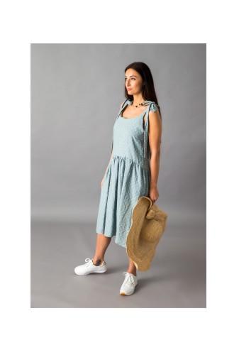 Žalsva taškuota lininė suknelė 19S4