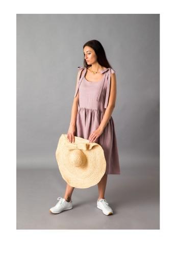 Pelenų rožės spalvos lininė suknelė 19S1