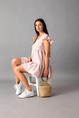 Švelniai rožinė lininė suknelė 19S14