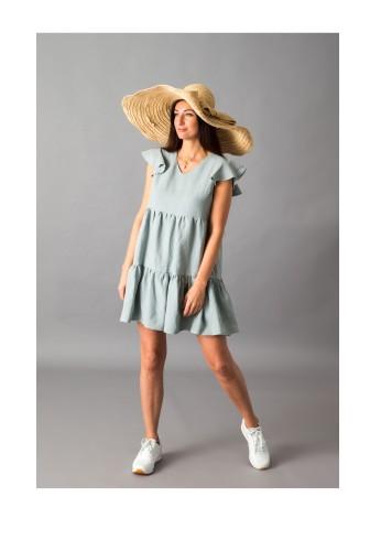 Žalsva lininė suknelė 19S17